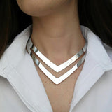 Silver Boho Maxi Collier Statement Necklace Girl Punk Power Collar Choker Necklace Women Jewelry