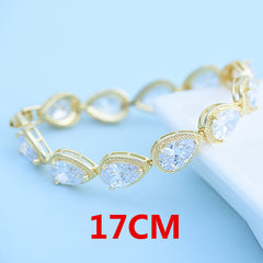 LUOTEEMI Luxury Bracelet Women Big Teardrop Clear Cubic Zircon Crystal Wedding Jewelry Gift