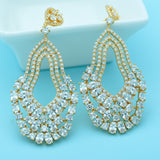 European American Retro Multi Water Drop Earrings Exaggerated Long Large Women Wedding