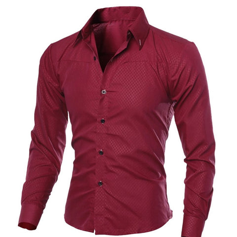 Spring Long Sleeve Formal Shirts Men Solid Slim Basic Turn-down Collar Business Shirts