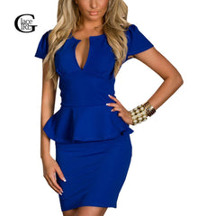 Women Office Dress V Neck Sheath Ruffles Slim Dress Tunic Work Party Business Bodycon Dress
