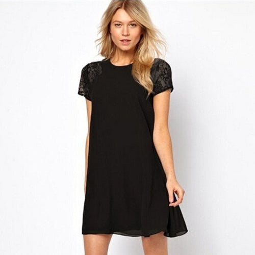 Lace Sleeve Patchwork Dress Hollow Out Summer Dress Short Sleeve O-Neck A-Line Mini Party Dresses