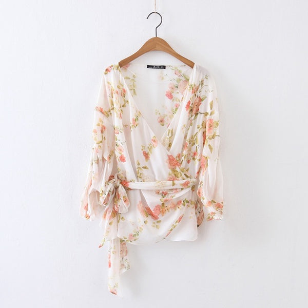 Print Flowers Chiffon Wrap Top Women Puff Sleeve Blouse V Neck Loose Summer Clothes Bowknot