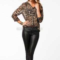 Women Leopard Sexy Sleeve Lace Transparent Summer/Autumn Chiffon Leopard Tops Blouse