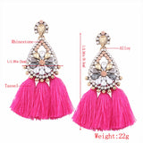 Handmade Ethnic Bohemian Tassel Earrings Rhinestone Dangle Earrings Red Long Tassel Women Earrings