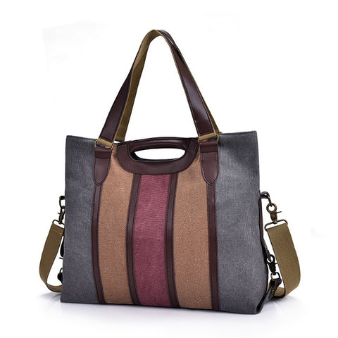 Large Pocket Casual Tote Women Handbag Shoulder Canvas Leather Capacity Messenger Bags