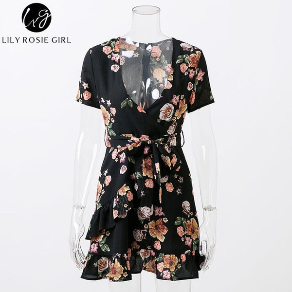 Black Boho Floral Print Women Mini Dress Deep V Neck Ruffles Summer Beach Party Dresses