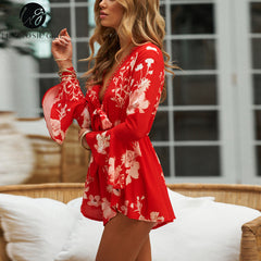 Lace Up Red Floral Print Women Rompers Boho Beach Summer Long Flare Sleeve Overalls V Neck Playsuits