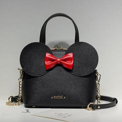 High Quality PU Leather Women Bag Mickey Big Ear Shell Sweet Bow Chain Shoulder Bag