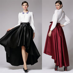 Long Satin Skirts Women Autumn Vintage High Waist Ball Gown Asymmetrical Mermaid Party Maxi Skirt