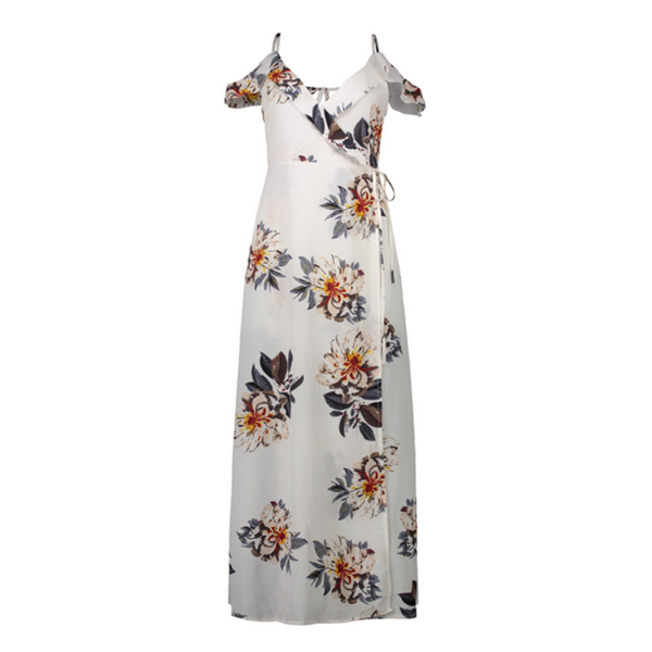 Long Sleeveless Dress V Neck Print Beach Summer Floral Maxi Waist Loose Size Casual High Dresses