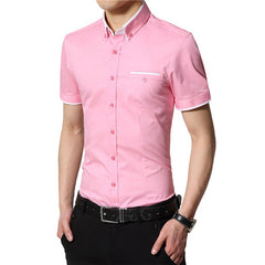 Summer Men Shirts Short Sleeved Solid Color Cotton Slim Fit Men's Business Casual Shirt