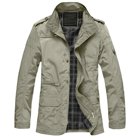 Casual Long Jacket Spring Autumn Male Business Windbreak Outwear Parka Loose Varsity Bomber Coat