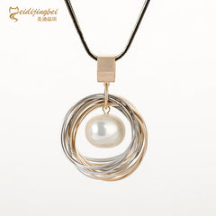 MEIDIJINGBEI Exquisite Pearl Necklace Multi-layer Plating Pearls Long Necklace Pendant Jewelry