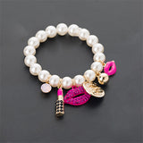 Chain Jewelry Bracelets Lips Lipstick Imitation Pearl Jewelry Bracelet Ladies Jewelry