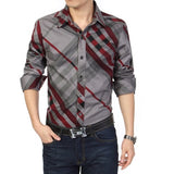 Casual Shirt Men Cotton Striped Shirts Long-Sleeved Slim Fit Camisa Social Shirt