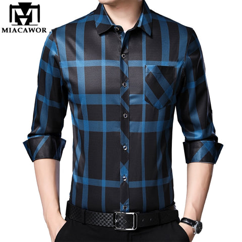 Spring Long Sleeve Men Shirts Business Casual Plaid Shirts Slim Fit Camisa