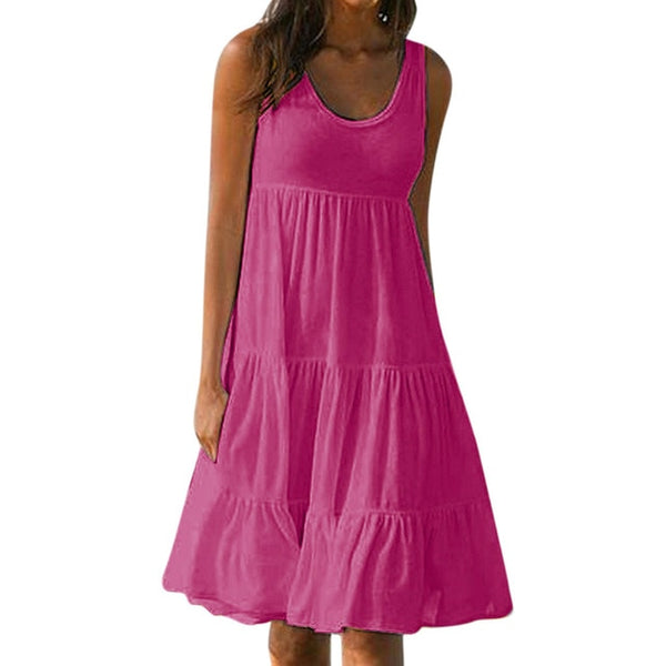 Holiday Summer Dress Solid Sleeveless Party Sundress Beach Dress Vestidos