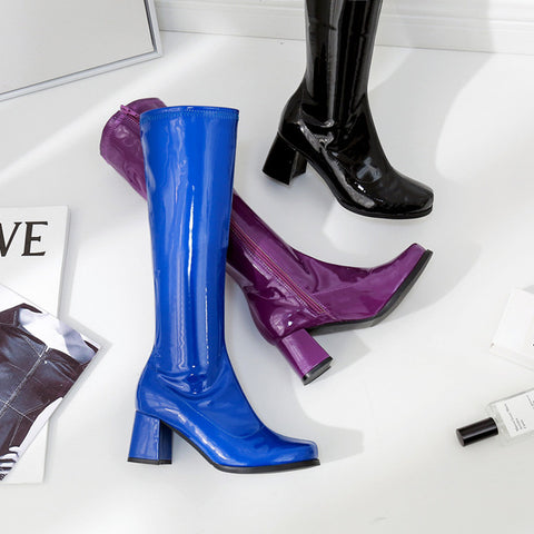 Purple Patent Leather High Heel Women Winter Shoes
