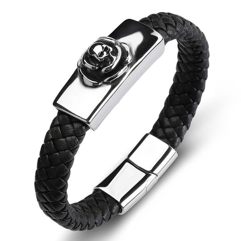 Men Women Jewelry Braided Black Leather Skull Bracelets Bangles Trendy Charm Bangles
