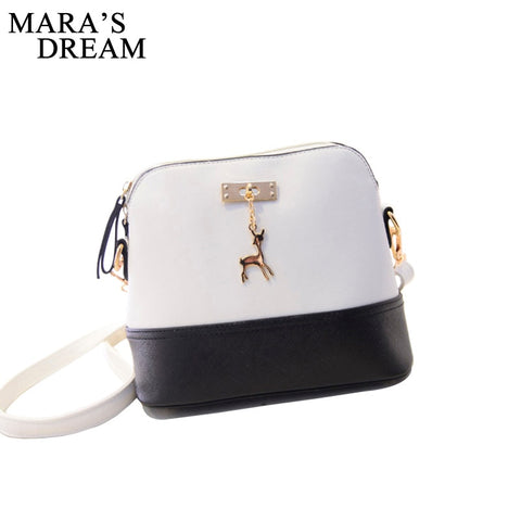 Dream Women Leather Small Shoulder Bag Deer Spliced Collision Cross Body Messenger Bag