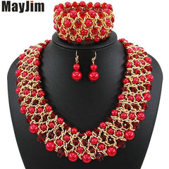 Statement Necklace Jewelry Sets Handmade Bead Chain Big Pearl Dubai Jewelry Sets Vintage Beads