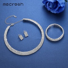 Classic Circle Rhinestone African Jewelry Set Crystal Necklace Sets Bride Bridesmaid Wedding Jewelry