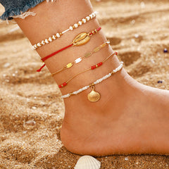 Gold Color Bohemia Anklets Set Imitation Pearl Shell Star Beads Trendy Bracelet Beach Jewelry