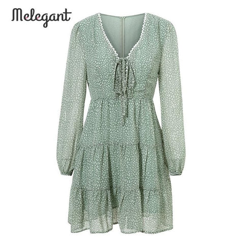 Long Sleeve Autumn Winter Dress Women Short Party Ruffles Green Chiffon Dress