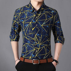 Men Shirt Cotton Long Sleeve Geometric Printed Shirts Big Size Camisa Social