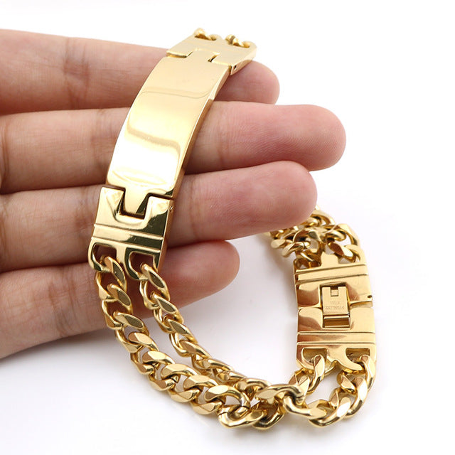 39572e480f5fb Men Jewelry Gold Bracelet Length Double Lines Charming Bracelet Stainless  Steel Jewelry