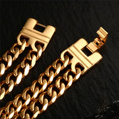 Men Jewelry Gold Bracelet Length Double Lines Charming Bracelet Stainless Steel Jewelry