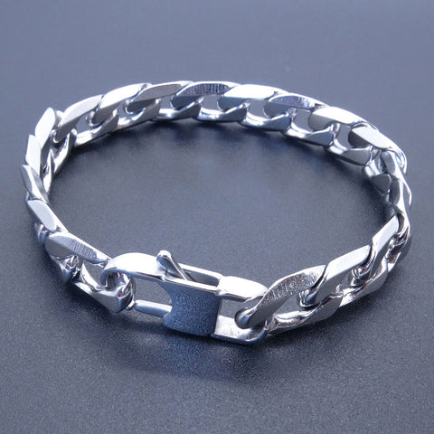 Men Women Stainless Steel Bracelet Inches Curb Chain Vintage Jewelry Punk