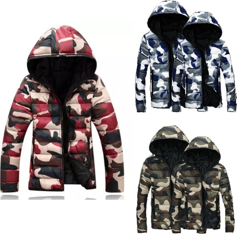 Winter Hooded Camouflage Mens  Thicken Warm Cotton Jackets Coat