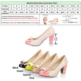 Ladies Shoes Pumps Autumn Round Toe Basic Office Chunky High Heels Bow Candy Color Shoes
