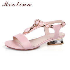 Women Sandals Open Toe T-Strap Bohemian Beach Low Heels Summer Shoes Crystal Pink Shoes