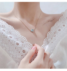 Silver Neckless Korean Fashion Blue Crystal Pendant Neckless Short Romantic Link Chain Jewlery