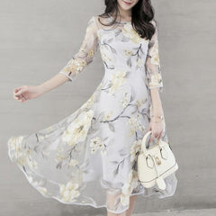 Midi Dress O Neck 3/4 Mesh Sleeve Floral Print Large Swing Double Layer Summer Dresses