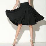 Midi Skirt Summer Women High Waist Pleated A Line Skater Vintage Casual Knee Length Petticoat