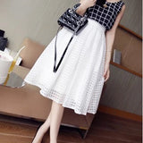 Midi Skirt Summer Petticoat White Long Tutu Skirts Plaid 2-layer High Waist A-line Maxi Skirt