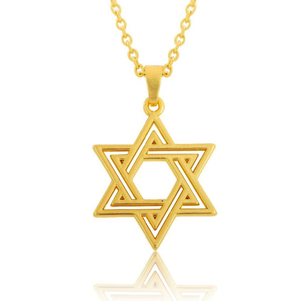 Minimal 2 Color Metal Jewish Star Of David Pendant Necklace