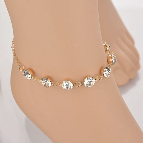 Modern Anklets Bracelets Gold Color Chain Crystal Leg Simple Bracelets Wedding Gifts