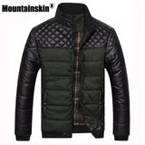 Mountainskin Men's Jackets Coats PU Patchwork Jackets Men Outerwear Winter Male Clothing