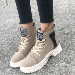 Boots Platform Boots Woman Boots For Woman Black Sneakers Lace Up Casual Shoes Woman Boat