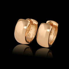 MxGxFam Smooth Hoop Earrings Women Gold Color No Stone Forever Classic Style