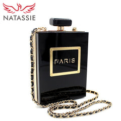 NATASSIE Women Clutch Acrylic Clutches Party Bags Ladies Designer Perfume Bottle Shape Purses