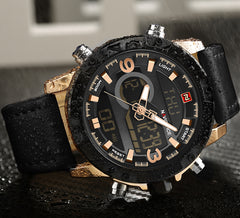 Luxury Men Analog Digital Leather Sports Watches Men's Army Military Watch Quartz Clock