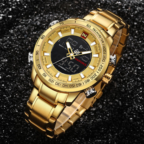Luxury Mens Sport Watch Gold Quartz Led Clock Men Waterproof Wrist Watch Military Watches
