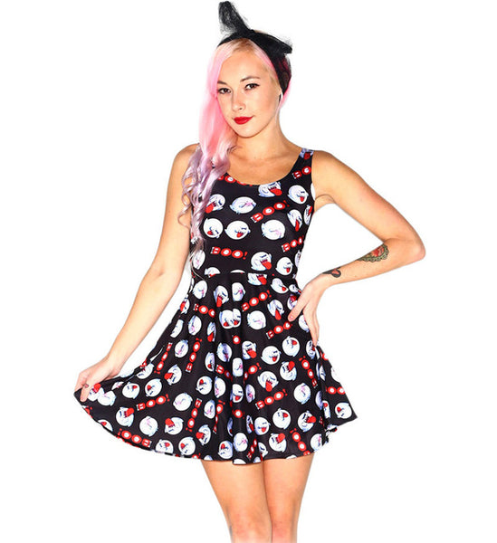Women Summer Christmas Skull Jake 3D Prints Reversible Sleeveless Skater Pleated Dress