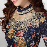 Women Floral Lace Casual Girl Blouse Diamond Beaded Lace Shirt Tops Clothes